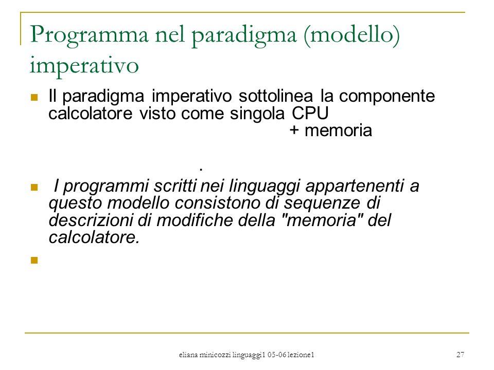 eliana minicozzi linguaggi1 05-06 lezione1 27 Programma nel paradigma (modello) imperativo Il paradigma imperativo sottolinea la componente calcolator