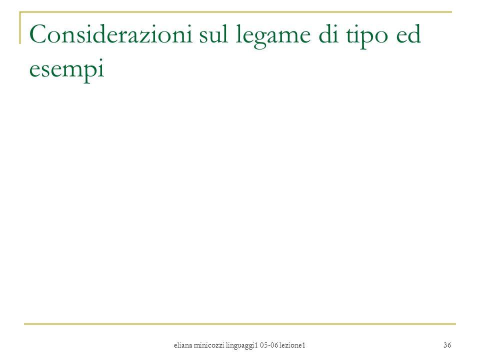 eliana minicozzi linguaggi1 05-06 lezione1 36 Considerazioni sul legame di tipo ed esempi