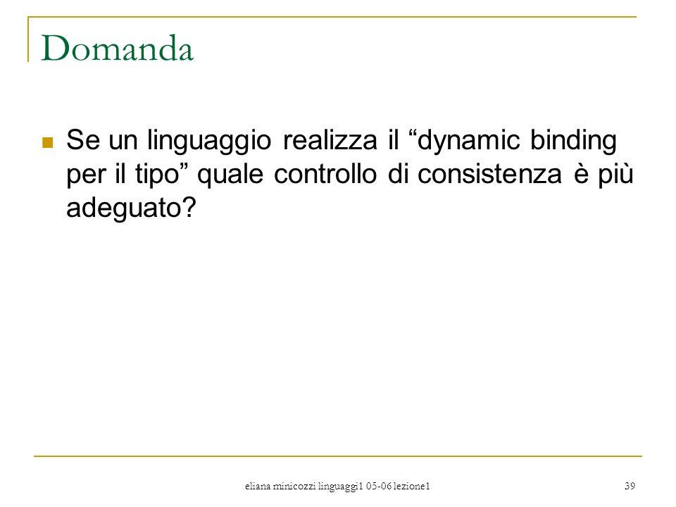 eliana minicozzi linguaggi1 05-06 lezione1 39 Domanda Se un linguaggio realizza il dynamic binding per il tipo quale controllo di consistenza è più ad