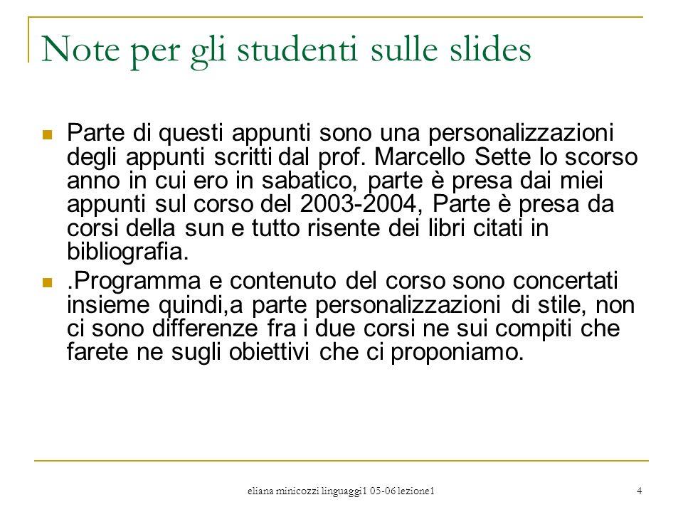 eliana minicozzi linguaggi1 05-06 lezione1 4 Note per gli studenti sulle slides Parte di questi appunti sono una personalizzazioni degli appunti scrit