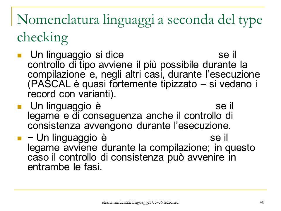 eliana minicozzi linguaggi1 05-06 lezione1 40 Nomenclatura linguaggi a seconda del type checking Un linguaggio si dice fortemente tipizzato se il cont