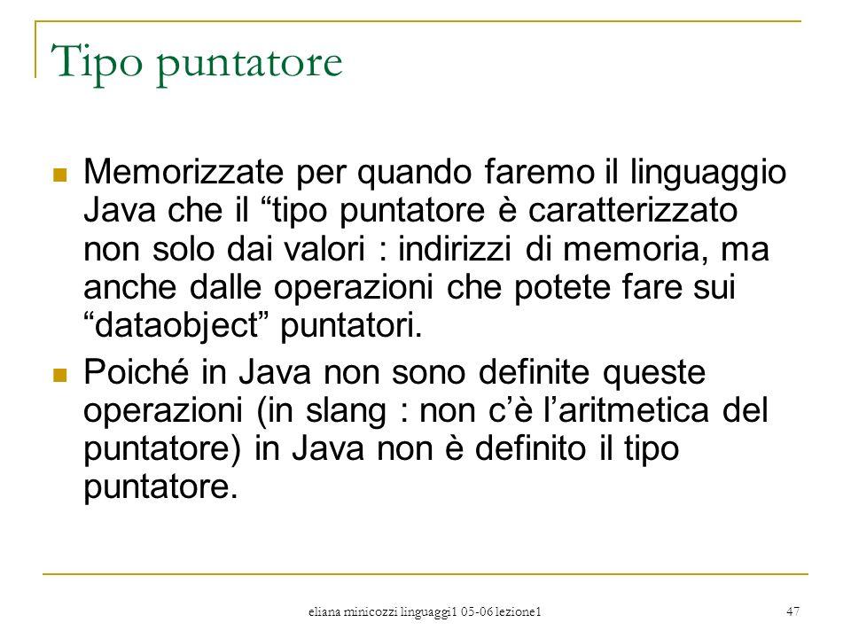 eliana minicozzi linguaggi1 05-06 lezione1 47 Tipo puntatore Memorizzate per quando faremo il linguaggio Java che il tipo puntatore è caratterizzato n