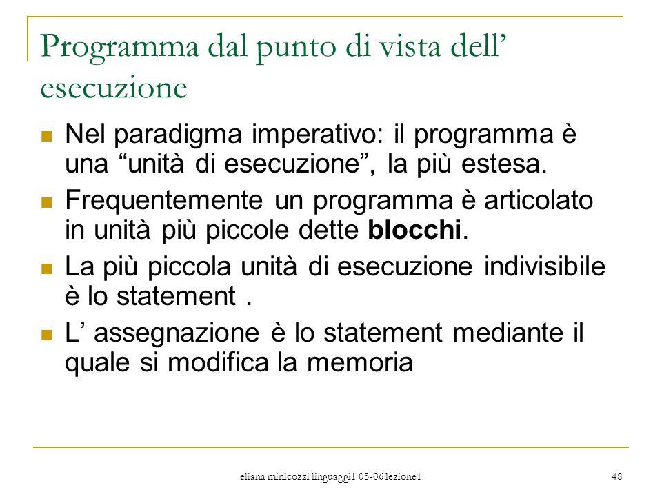 eliana minicozzi linguaggi1 05-06 lezione1 48 Programma dal punto di vista dell esecuzione Nel paradigma imperativo: il programma è una unità di esecu