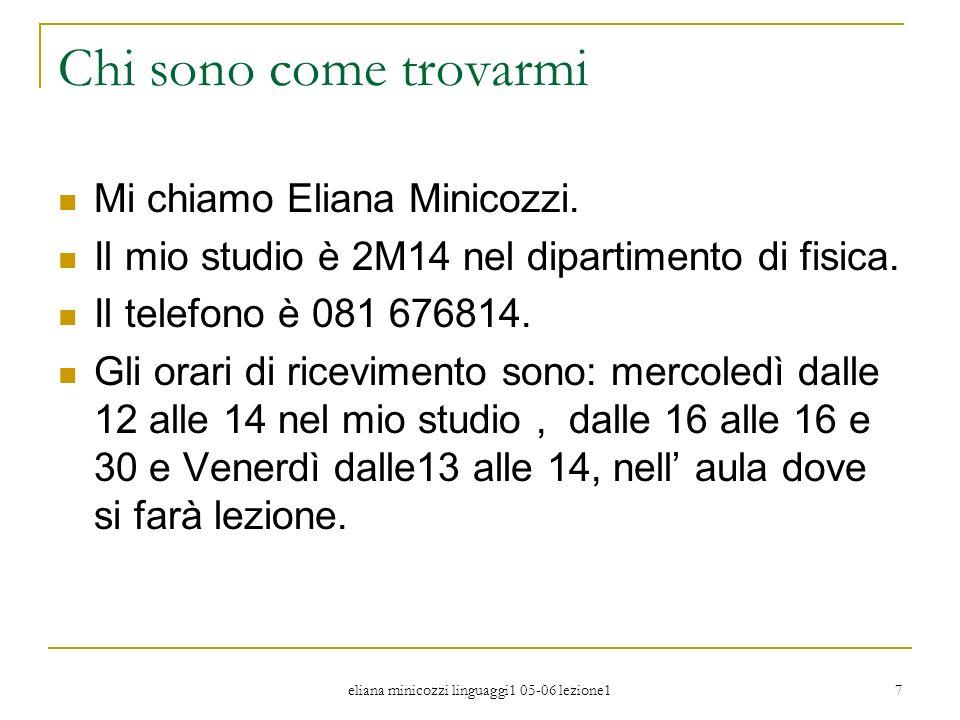 eliana minicozzi linguaggi1 05-06 lezione1 7 Chi sono come trovarmi Mi chiamo Eliana Minicozzi. Il mio studio è 2M14 nel dipartimento di fisica. Il te
