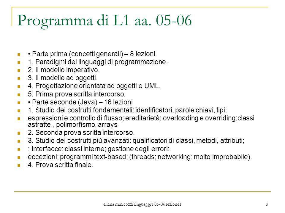 eliana minicozzi linguaggi1 05-06 lezione1 9 Obbiettivi del corso Capacità di riflessione sulle differenze tra i vari paradigmi di programmazione in particolare dei paradigmi imperativo e ad oggetti e sul loro essere modi di pensare i problemi.