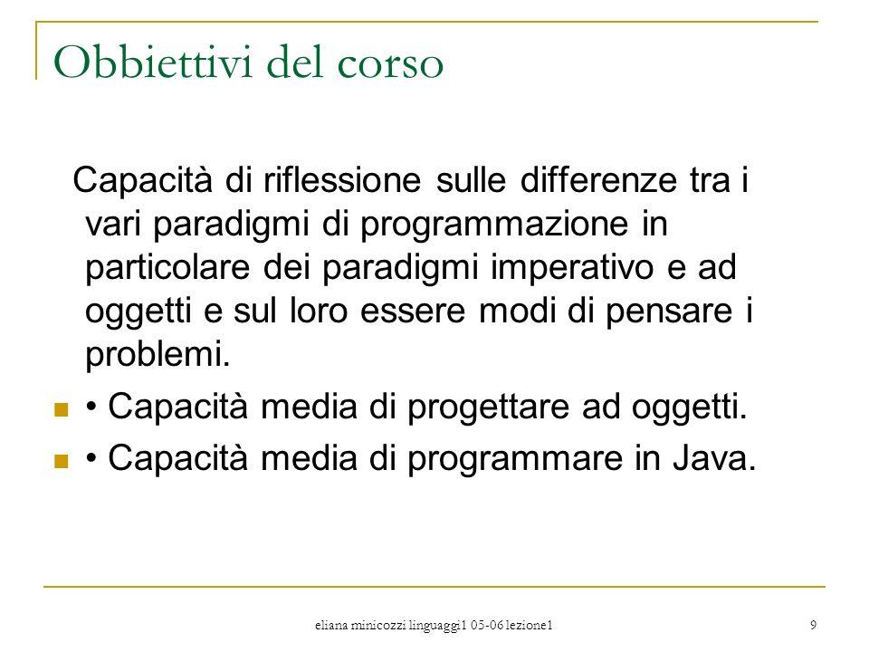eliana minicozzi linguaggi1 05-06 lezione1 9 Obbiettivi del corso Capacità di riflessione sulle differenze tra i vari paradigmi di programmazione in p
