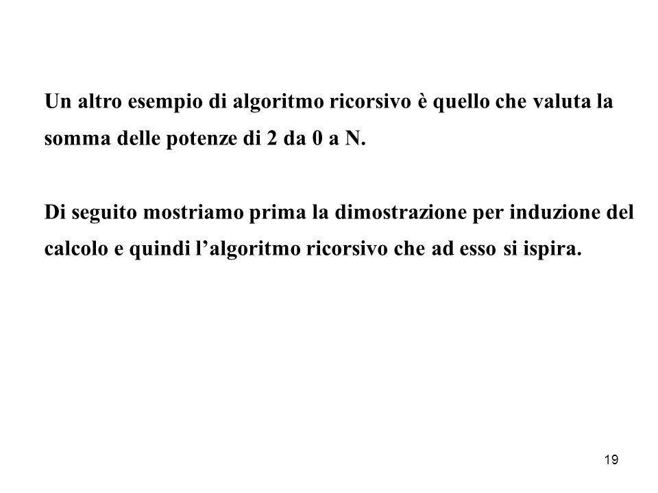 19 Un altro esempio di algoritmo ricorsivo è quello che valuta la somma delle potenze di 2 da 0 a N.
