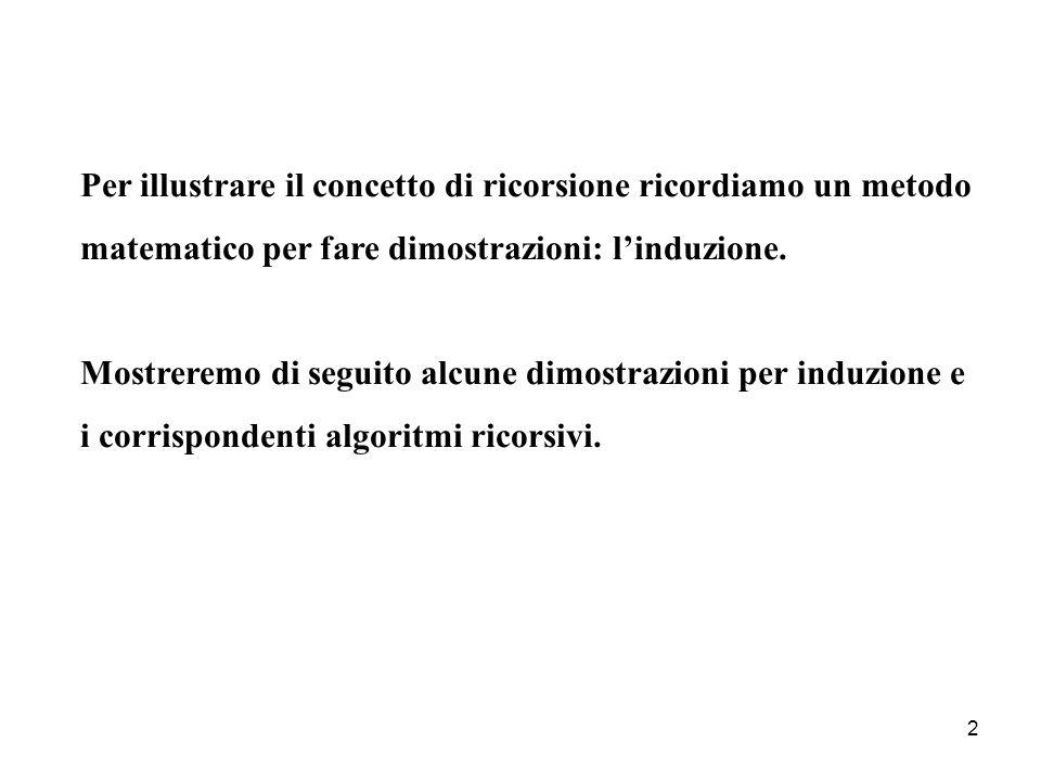 2 Per illustrare il concetto di ricorsione ricordiamo un metodo matematico per fare dimostrazioni: linduzione.