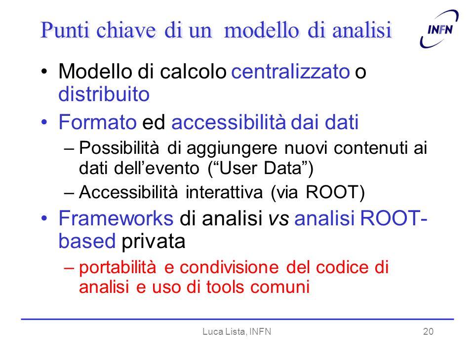 Luca Lista, INFN20 Punti chiave di un modello di analisi Modello di calcolo centralizzato o distribuito Formato ed accessibilità dai dati –Possibilità