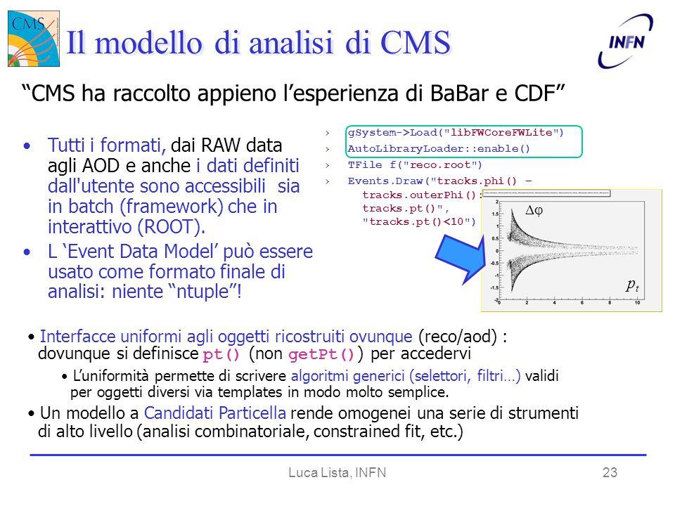 Luca Lista, INFN23 Tutti i formati, dai RAW data agli AOD e anche i dati definiti dall utente sono accessibili sia in batch (framework) che in interattivo (ROOT).