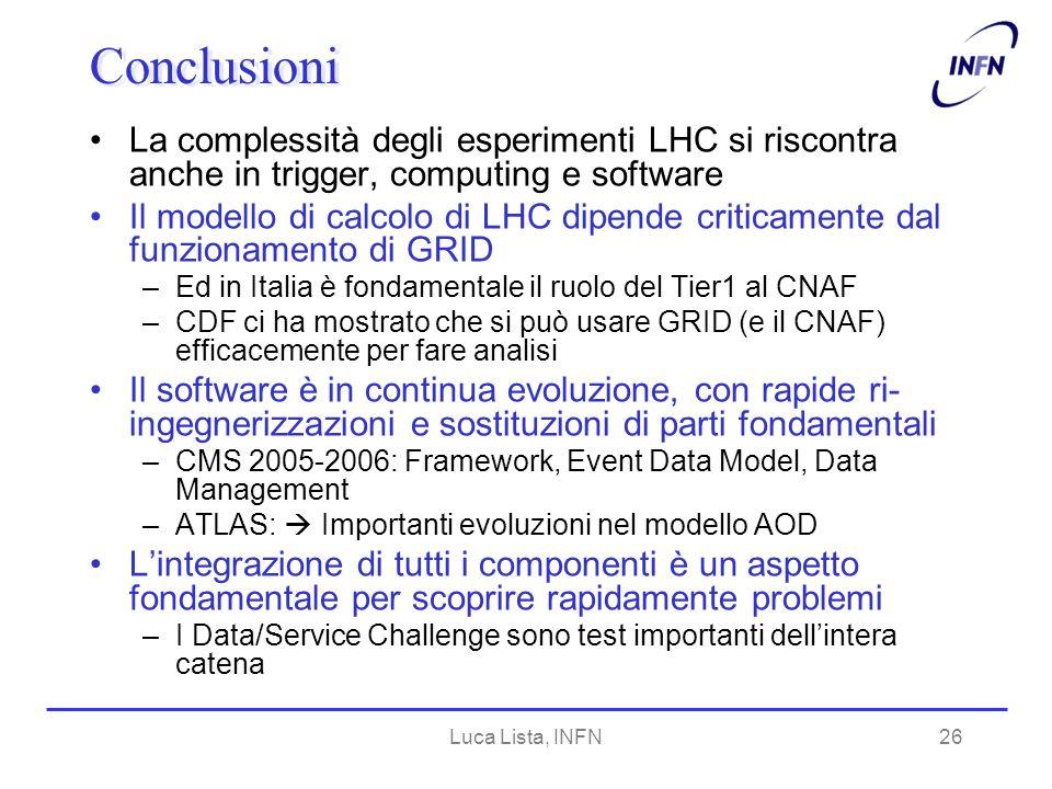 Luca Lista, INFN26 Conclusioni La complessità degli esperimenti LHC si riscontra anche in trigger, computing e software Il modello di calcolo di LHC dipende criticamente dal funzionamento di GRID –Ed in Italia è fondamentale il ruolo del Tier1 al CNAF –CDF ci ha mostrato che si può usare GRID (e il CNAF) efficacemente per fare analisi Il software è in continua evoluzione, con rapide ri- ingegnerizzazioni e sostituzioni di parti fondamentali –CMS 2005-2006: Framework, Event Data Model, Data Management –ATLAS: Importanti evoluzioni nel modello AOD Lintegrazione di tutti i componenti è un aspetto fondamentale per scoprire rapidamente problemi –I Data/Service Challenge sono test importanti dellintera catena
