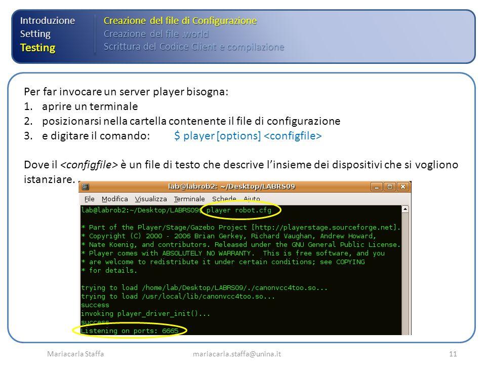 Mariacarla Staffa mariacarla.staffa@unina.it11 IntroduzioneSettingTesting Creazione del file di Configurazione Creazione del file.world Scrittura del