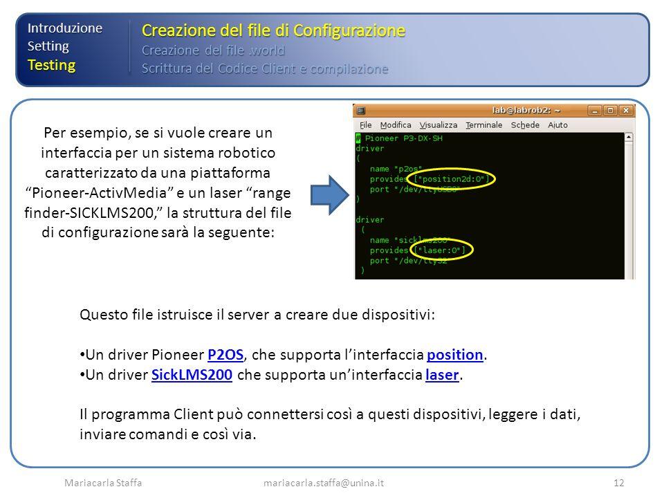 Mariacarla Staffa mariacarla.staffa@unina.it12 IntroduzioneSettingTesting Creazione del file di Configurazione Creazione del file.world Scrittura del