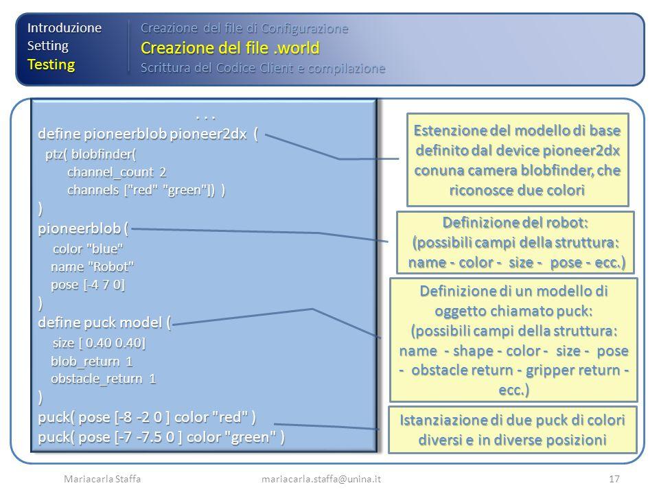 Mariacarla Staffa mariacarla.staffa@unina.it17 IntroduzioneSettingTesting Creazione del file di Configurazione Creazione del file.world Scrittura del