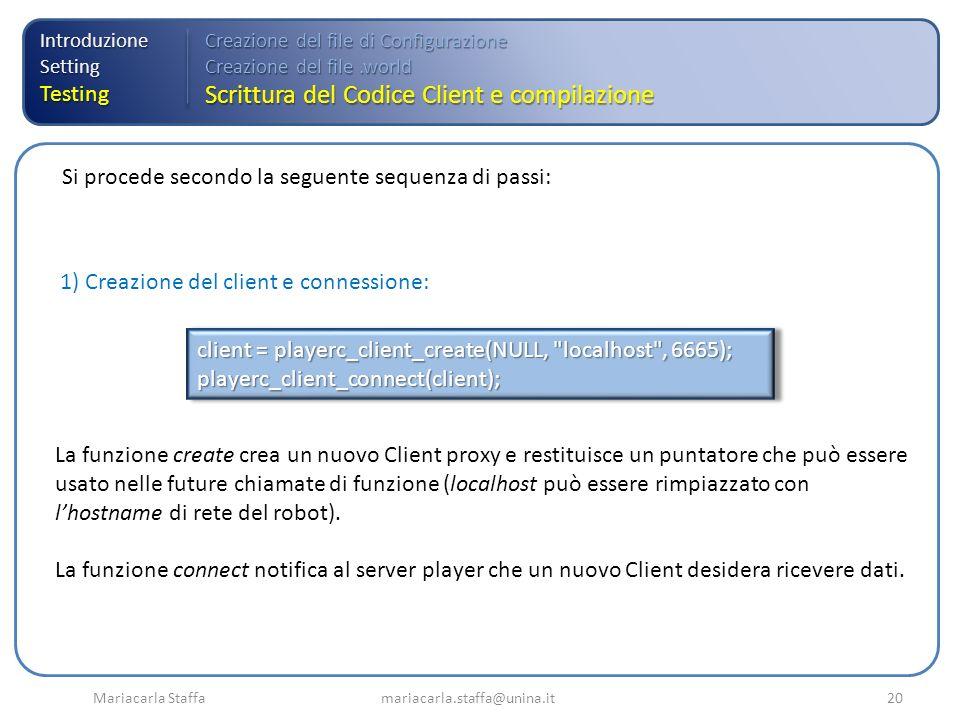 Mariacarla Staffa mariacarla.staffa@unina.it20 IntroduzioneSettingTesting Creazione del file di Configurazione Creazione del file.world Scrittura del