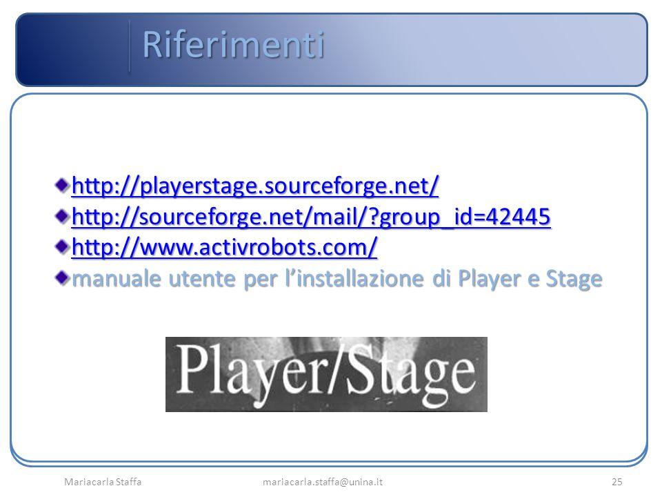 Mariacarla Staffa mariacarla.staffa@unina.it25 Riferimenti http://playerstage.sourceforge.net/ http://sourceforge.net/mail/?group_id=42445 http://www.