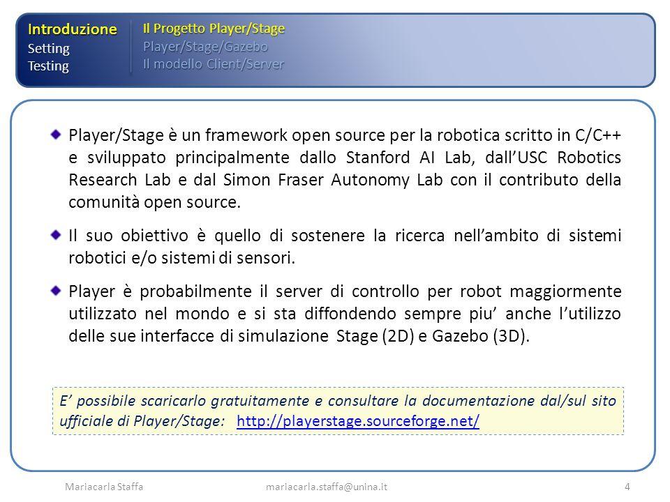 IntroduzioneSettingTesting Il Progetto Player/Stage Player/Stage/Gazebo Il modello Client/Server Mariacarla Staffa mariacarla.staffa@unina.it4 Player/