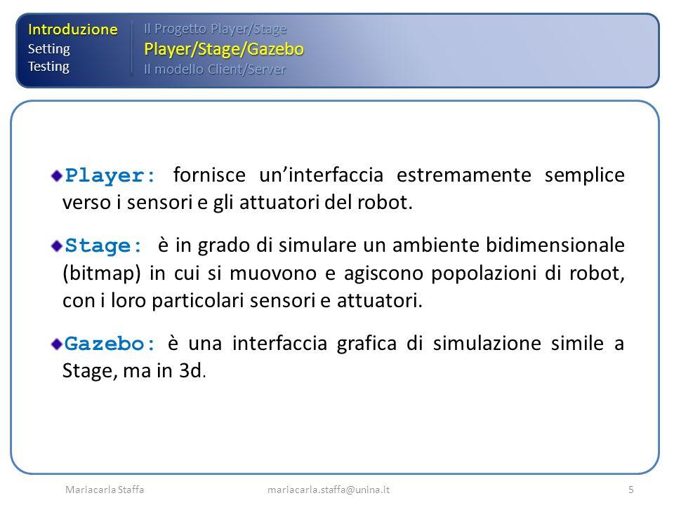 Mariacarla Staffa mariacarla.staffa@unina.it5 IntroduzioneSettingTesting Il Progetto Player/Stage Player/Stage/Gazebo Il modello Client/Server Player: