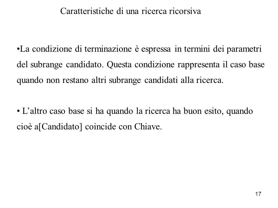 17 Caratteristiche di una ricerca ricorsiva La condizione di terminazione è espressa in termini dei parametri del subrange candidato. Questa condizion