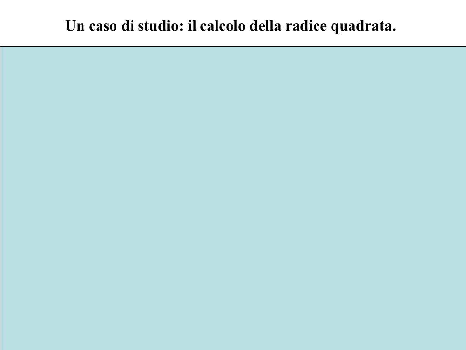 2 Un caso di studio: il calcolo della radice quadrata. Il modo più semplice per calcolare la radice quadrata di un numero a è quello di utilizzare un