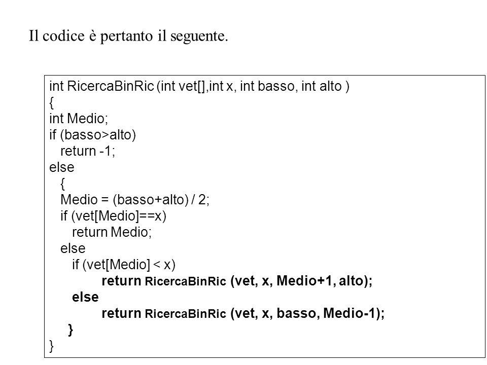 22 Il codice è pertanto il seguente. int RicercaBinRic (int vet[],int x, int basso, int alto ) { int Medio; if (basso>alto) return -1; else { Medio =