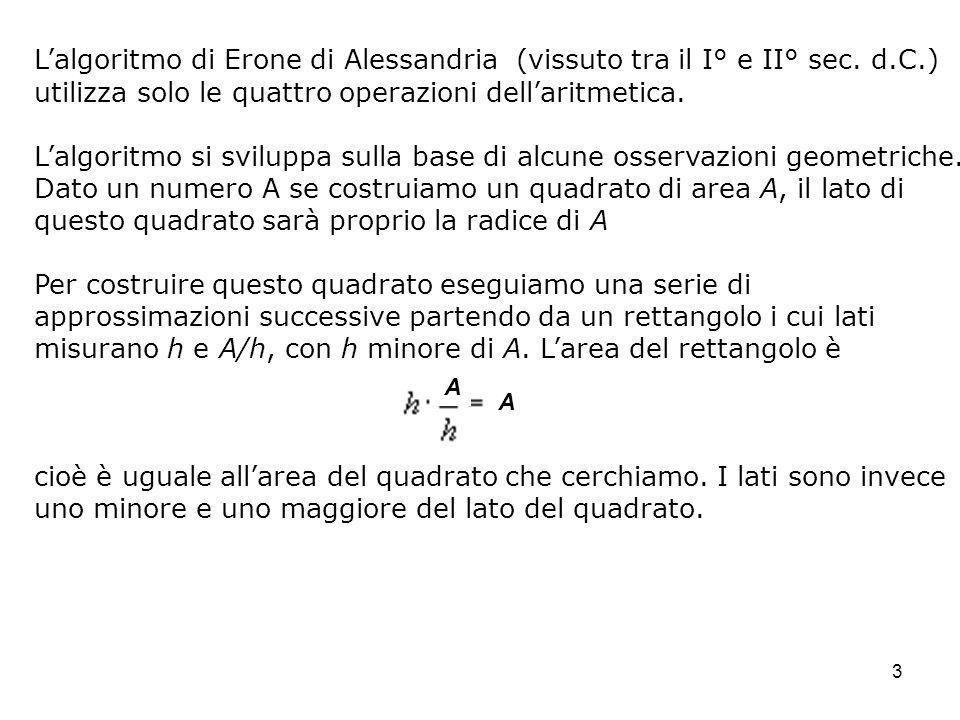 3 Lalgoritmo di Erone di Alessandria (vissuto tra il I° e II° sec. d.C.) utilizza solo le quattro operazioni dellaritmetica. Lalgoritmo si sviluppa su