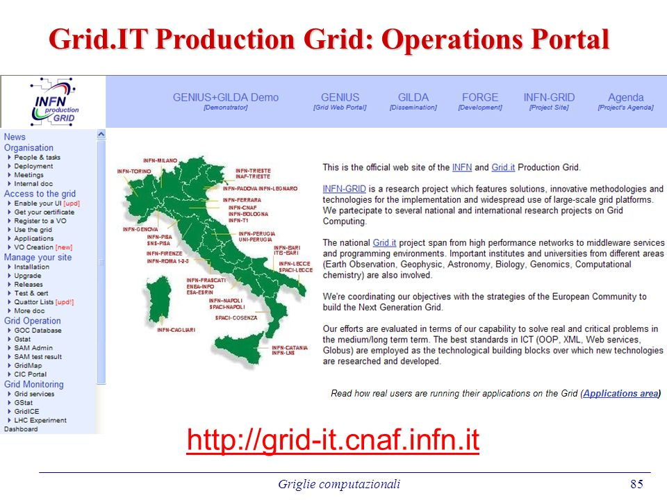 85 http://grid-it.cnaf.infn.it Grid.IT Production Grid: Operations Portal Griglie computazionali