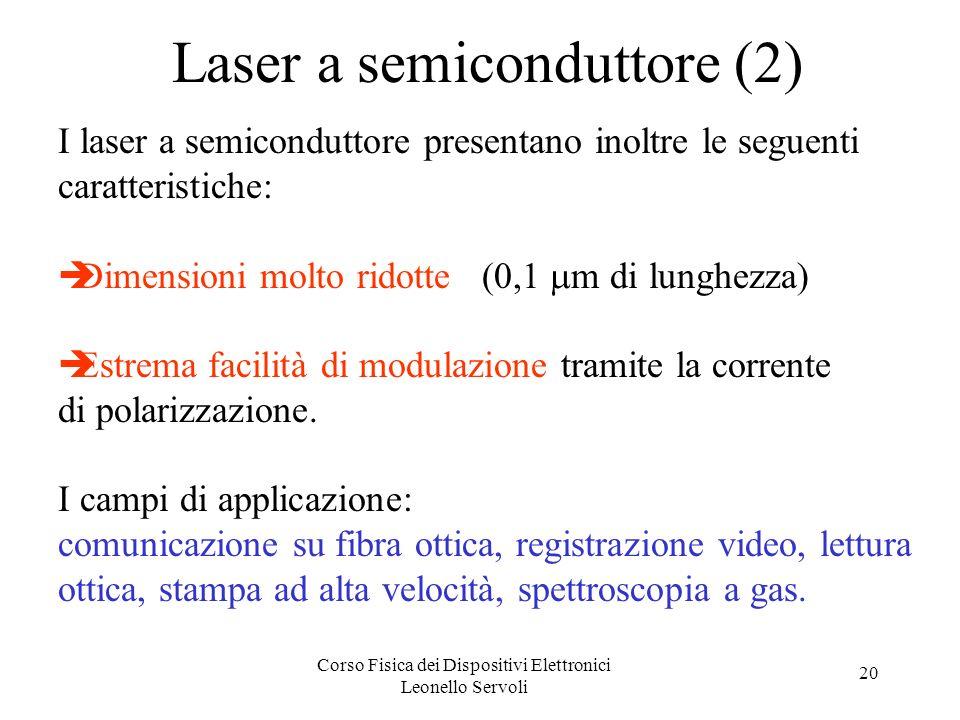 Corso Fisica dei Dispositivi Elettronici Leonello Servoli 20 Laser a semiconduttore (2) I laser a semiconduttore presentano inoltre le seguenti caratt