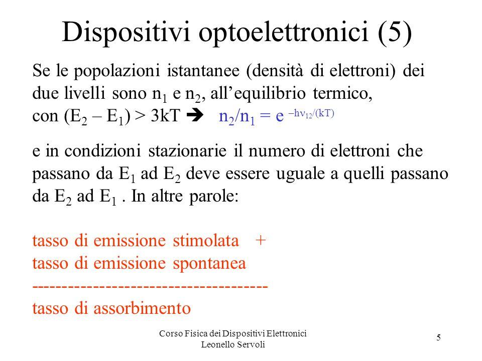 Corso Fisica dei Dispositivi Elettronici Leonello Servoli 5 Dispositivi optoelettronici (5) Se le popolazioni istantanee (densità di elettroni) dei du