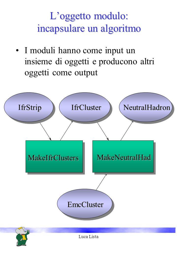 Luca Lista Loggetto modulo: incapsulare un algoritmo frStrip IfrStrip MakeIfrClusters IfrCluster EmcCluster MakeNeutralHad NeutralHadron I moduli hanno come input un insieme di oggetti e producono altri oggetti come output