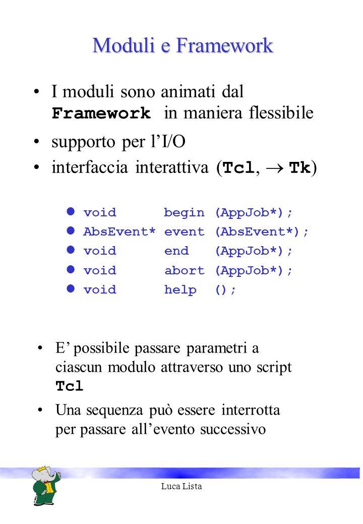 Luca Lista Moduli e Framework I moduli sono animati dal Framework in maniera flessibile supporto per lI/O interfaccia interattiva ( Tcl, Tk ) lvoid begin (AppJob*); lAbsEvent* event (AbsEvent*); lvoid end (AppJob*); lvoid abort (AppJob*); lvoid help (); E possibile passare parametri a ciascun modulo attraverso uno script Tcl Una sequenza può essere interrotta per passare allevento successivo