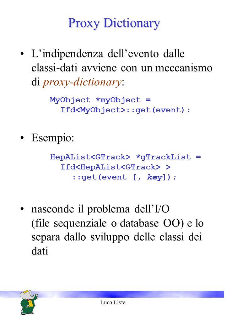 Luca Lista Proxy Dictionary Lindipendenza dellevento dalle classi-dati avviene con un meccanismo di proxy-dictionary: MyObject *myObject = Ifd ::get(event); Esempio: HepAList *gTrackList = Ifd > ::get(event [, key]); nasconde il problema dellI/O (file sequenziale o database OO) e lo separa dallo sviluppo delle classi dei dati