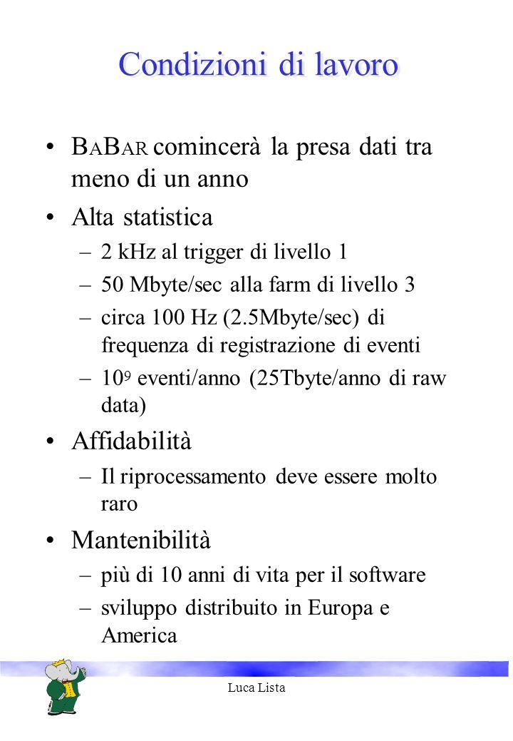 Luca Lista Condizioni di lavoro B A B AR comincerà la presa dati tra meno di un anno Alta statistica –2 kHz al trigger di livello 1 –50 Mbyte/sec alla farm di livello 3 –circa 100 Hz (2.5Mbyte/sec) di frequenza di registrazione di eventi –10 9 eventi/anno (25Tbyte/anno di raw data) Affidabilità –Il riprocessamento deve essere molto raro Mantenibilità –più di 10 anni di vita per il software –sviluppo distribuito in Europa e America