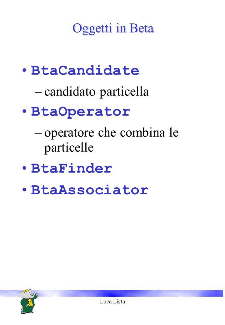 Luca Lista Oggetti in Beta BtaCandidate –candidato particella BtaOperator –operatore che combina le particelle BtaFinder BtaAssociator