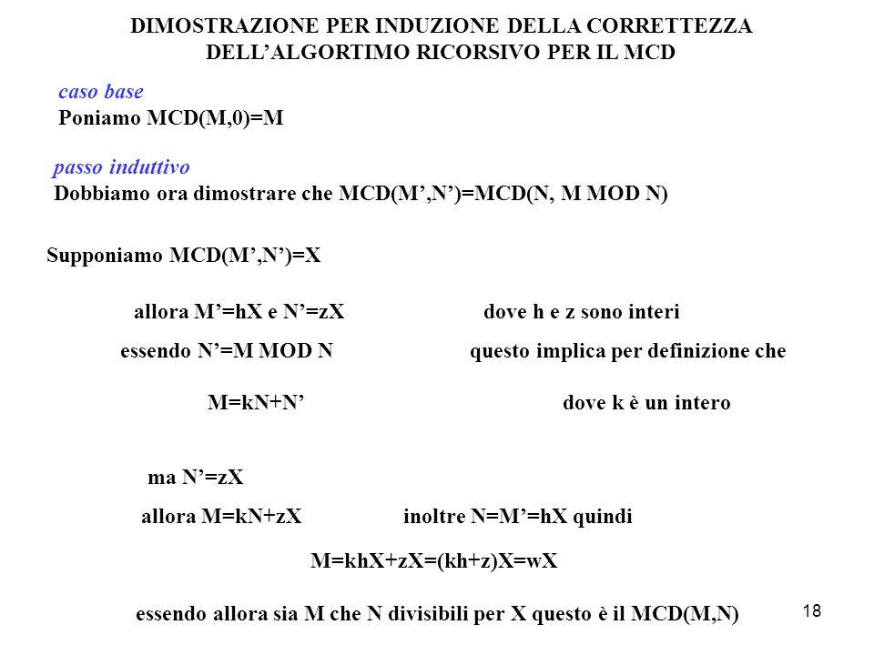 18 caso base Poniamo MCD(M,0)=M passo induttivo Dobbiamo ora dimostrare che MCD(M,N)=MCD(N, M MOD N) DIMOSTRAZIONE PER INDUZIONE DELLA CORRETTEZZA DEL