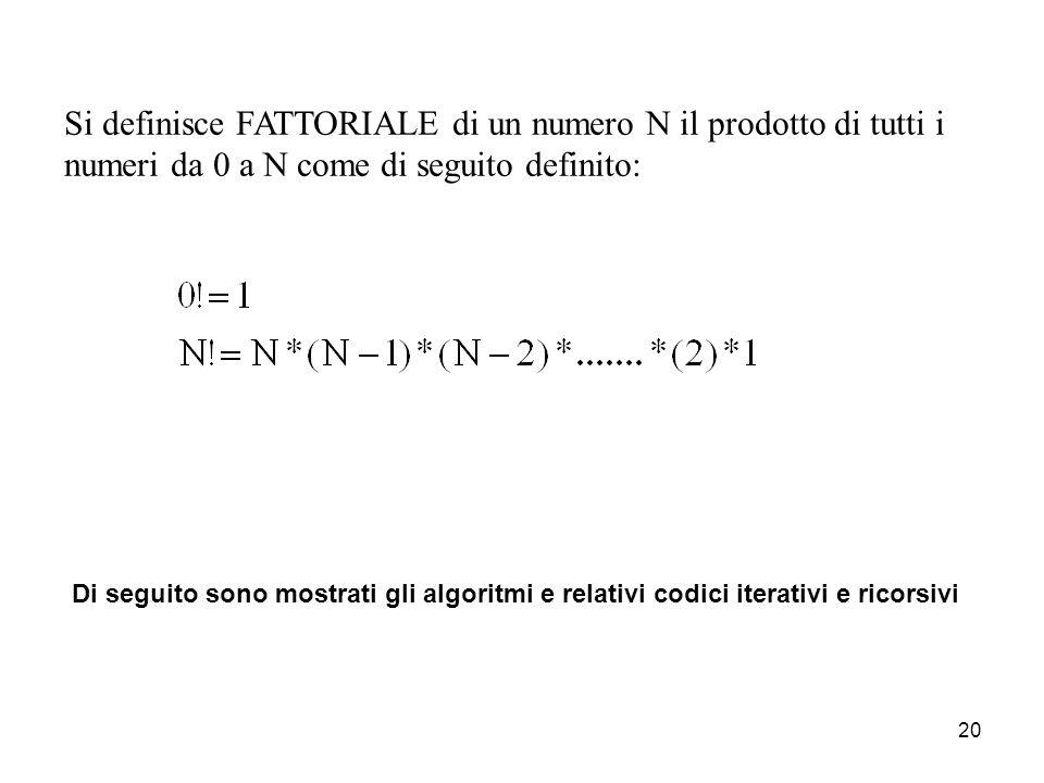 21 double fattorialeIterativo(int Num) { int fatt=1; for (int j=1;j<=Num;j++) fatt=j*fatt; return fatt; } double fattorialeRicorsivo(int Num) { if (Num==0) return 1; else return Num*fattoriale(Num-1); }