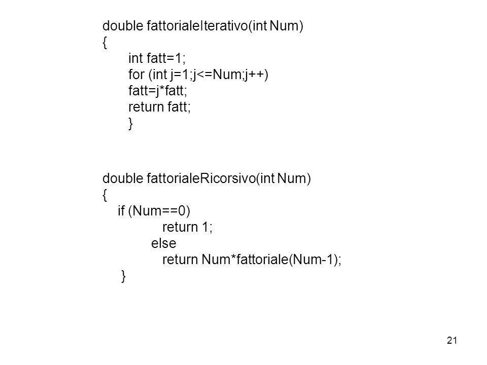 21 double fattorialeIterativo(int Num) { int fatt=1; for (int j=1;j<=Num;j++) fatt=j*fatt; return fatt; } double fattorialeRicorsivo(int Num) { if (Nu
