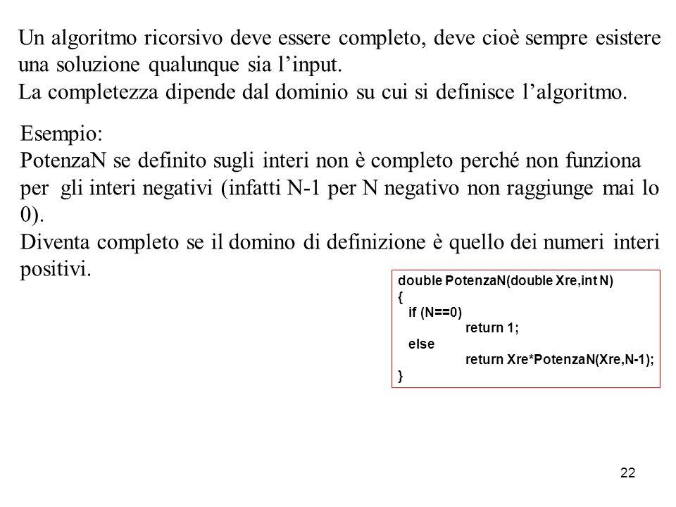 23 Dallesempio precedente si ricava che nel caso di cattiva definizione dellalgoritmo ricorsivo sia in termini di caso base che di chiamata ricorsiva si genera uno Stack Infinito.