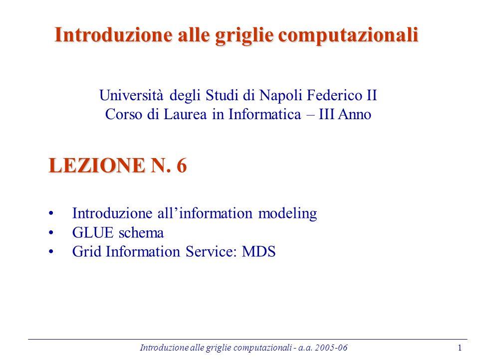 Introduzione alle griglie computazionali - a.a. 2005-061 LEZIONE LEZIONE N.