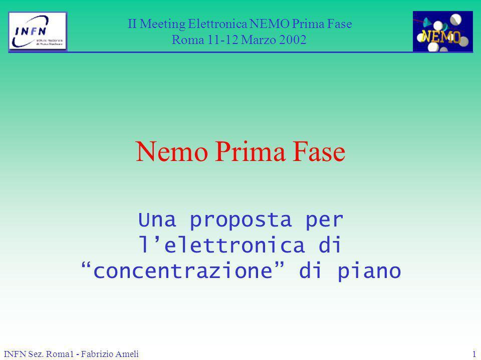 INFN Sez. Roma1 - Fabrizio Ameli1 Nemo Prima Fase Una proposta per lelettronica di concentrazione di piano II Meeting Elettronica NEMO Prima Fase Roma