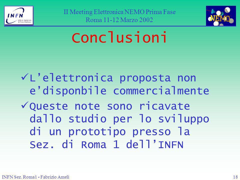 INFN Sez. Roma1 - Fabrizio Ameli18 Conclusioni Lelettronica proposta non edisponbile commercialmente Queste note sono ricavate dallo studio per lo svi