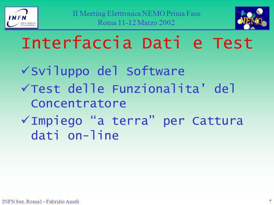 INFN Sez. Roma1 - Fabrizio Ameli7 Interfaccia Dati e Test Sviluppo del Software Test delle Funzionalita del Concentratore Impiego a terra per Cattura