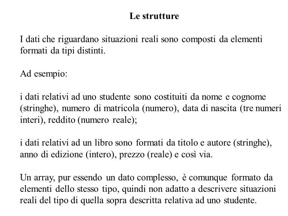 10 Le strutture I dati che riguardano situazioni reali sono composti da elementi formati da tipi distinti.