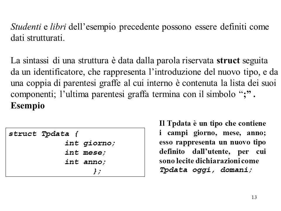 13 Studenti e libri dellesempio precedente possono essere definiti come dati strutturati.