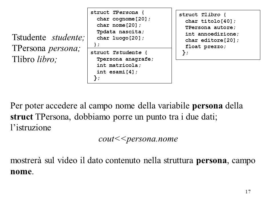 17 Per poter accedere al campo nome della variabile persona della struct TPersona, dobbiamo porre un punto tra i due dati; listruzione cout<<persona.nome mostrerà sul video il dato contenuto nella struttura persona, campo nome.
