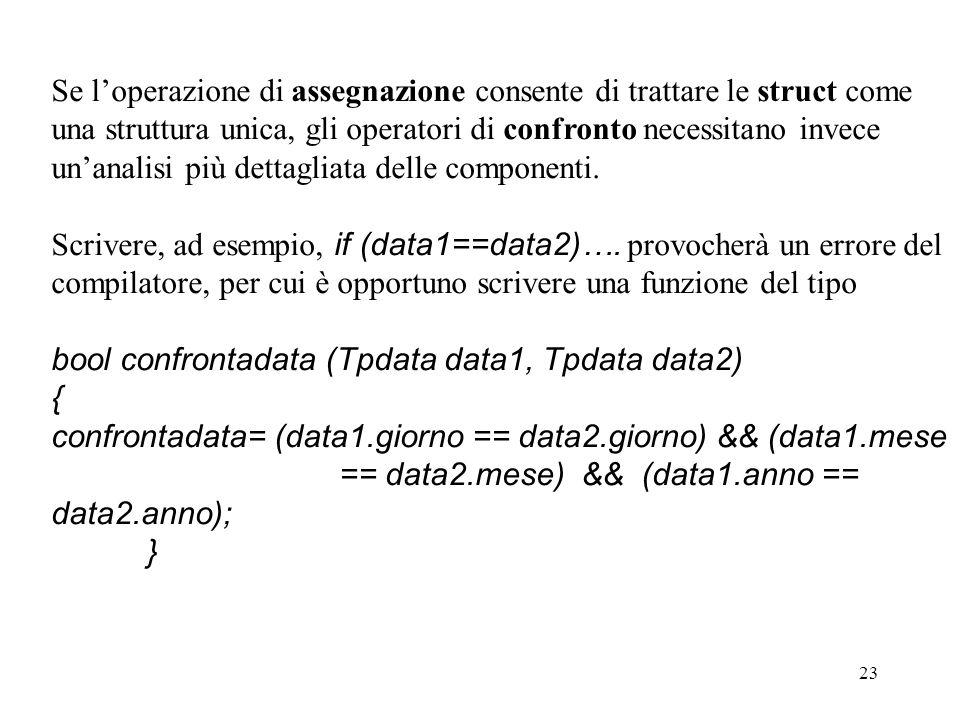 23 Se loperazione di assegnazione consente di trattare le struct come una struttura unica, gli operatori di confronto necessitano invece unanalisi più dettagliata delle componenti.