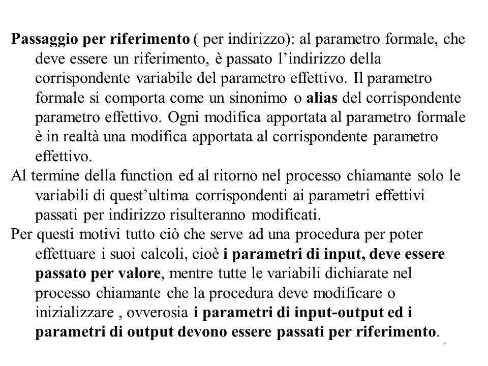 7 Passaggio per riferimento ( per indirizzo): al parametro formale, che deve essere un riferimento, è passato lindirizzo della corrispondente variabile del parametro effettivo.