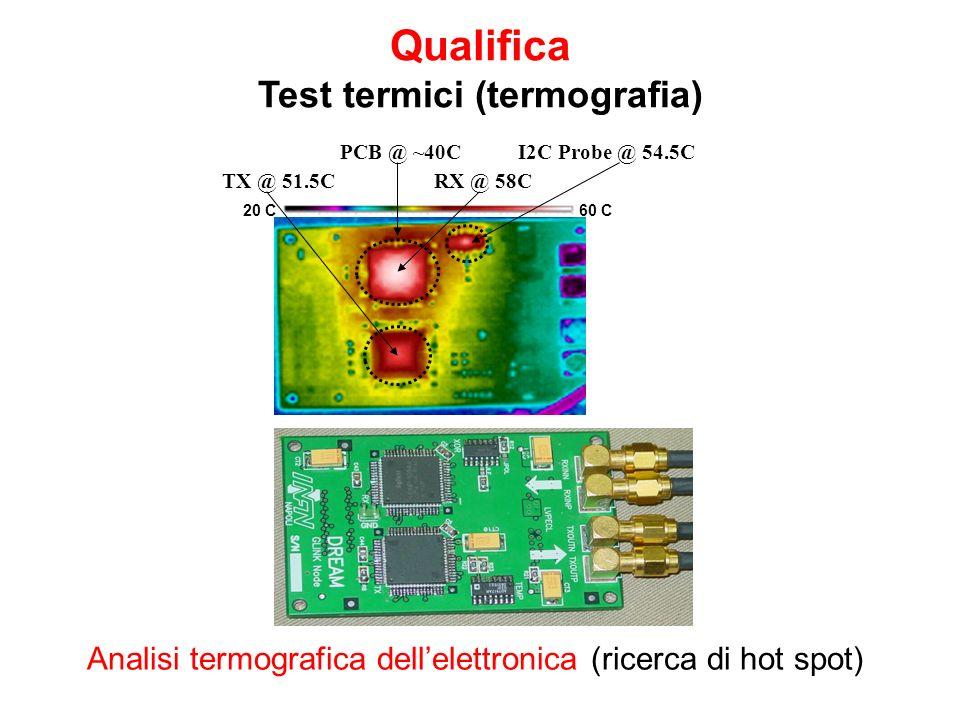Qualifica Test termici (termografia) TX @ 51.5C 20 C60 C PCB @ ~40CI2C Probe @ 54.5C RX @ 58C Analisi termografica dellelettronica (ricerca di hot spo
