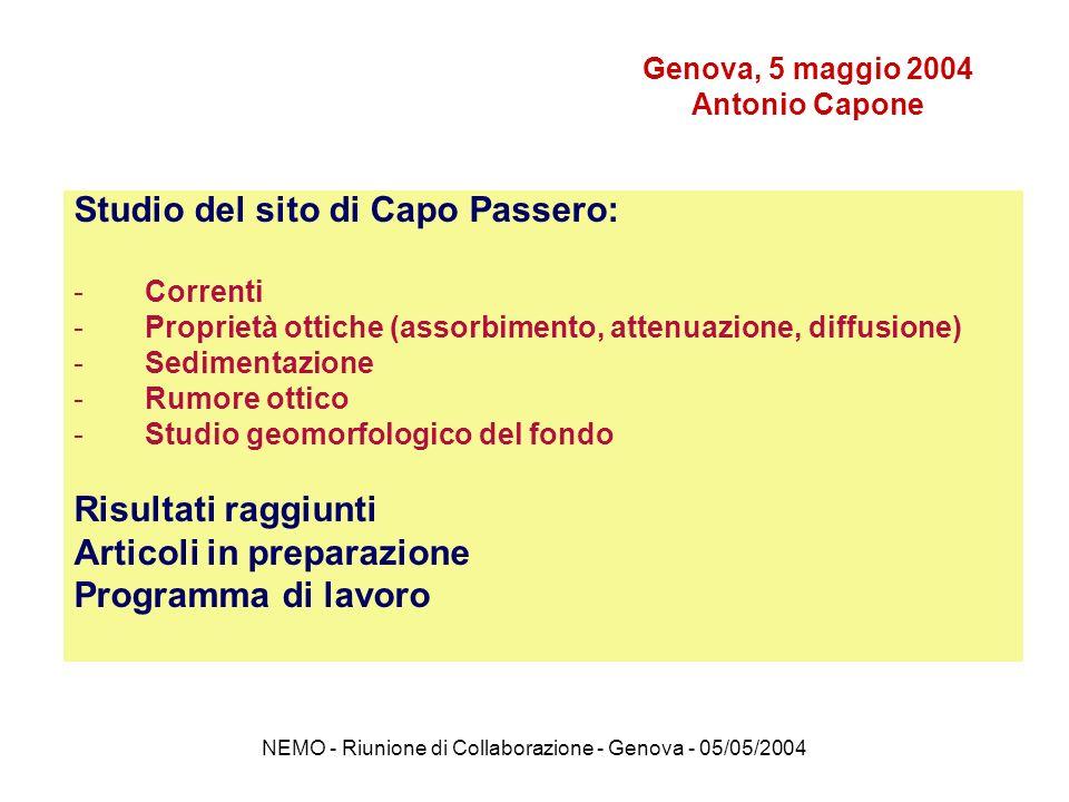 NEMO - Riunione di Collaborazione - Genova - 05/05/2004 Capo Passero 3350 m Ustica 3500 m Alicudi 3500 m Catania 2000 m CONISMA R/V UNIVERSITATIS 48m CNR R/V Thetis 32 m CNR R/V Urania 62 m NATO R/V Alliance 110m I siti investigati nel basso Tirreno e nello Ionio, le navi