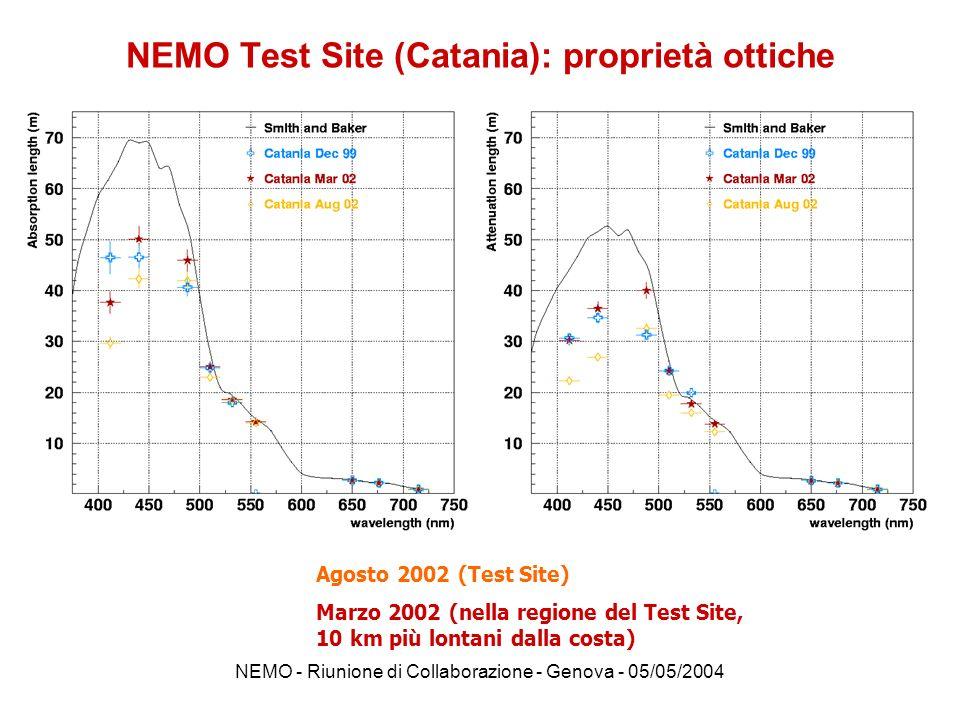 NEMO - Riunione di Collaborazione - Genova - 05/05/2004 temperaturesalinity c440a440 AC9 + CTD Profiles of the water column in Toulon Region Water is colder and less salty than in Capo Passero TemperaturaSalinitàCoeff.